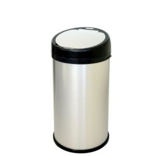 iTouchless 13 Gal. Stainless Steel Round Extra-Wide Lid Opening Motion Sensing Touchless Trash Can
