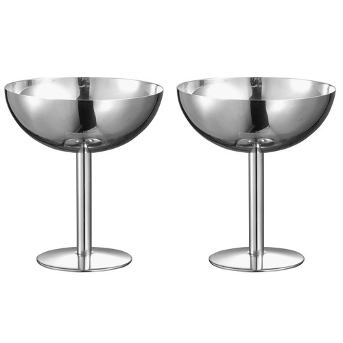 Visol Isabelle 6 oz. Stainless Steel Cocktail Glass (Set of 2)
