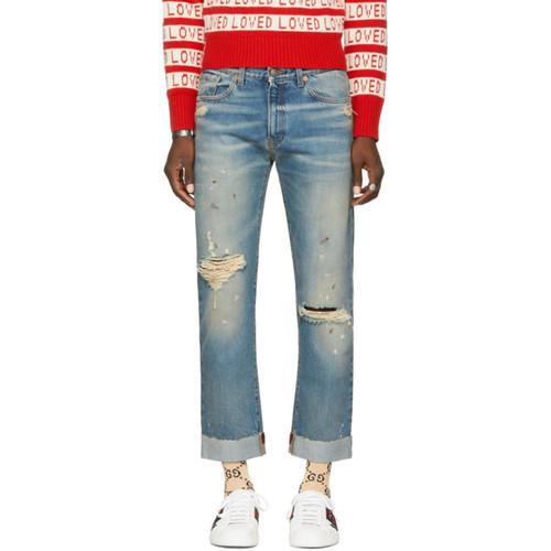 GUCCI Blue 'L'Aveugle Par Amour' Jeans