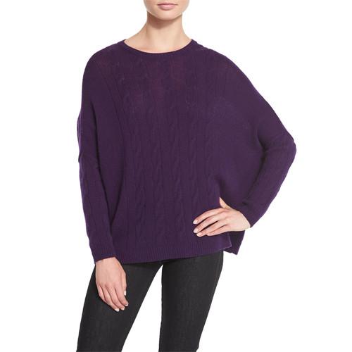 RALPH LAUREN Cable-Knit Cashmere Dolman Sweater, Plum