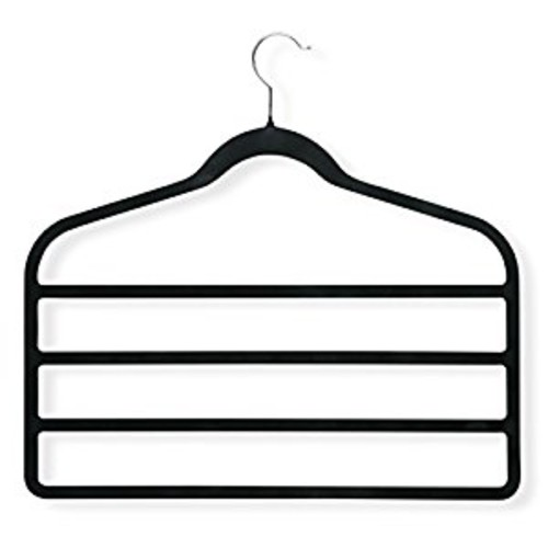 Honey-Can-Do HNGT01340 Black Velvet Touch 4-Step Hanger Black, 4-Pack