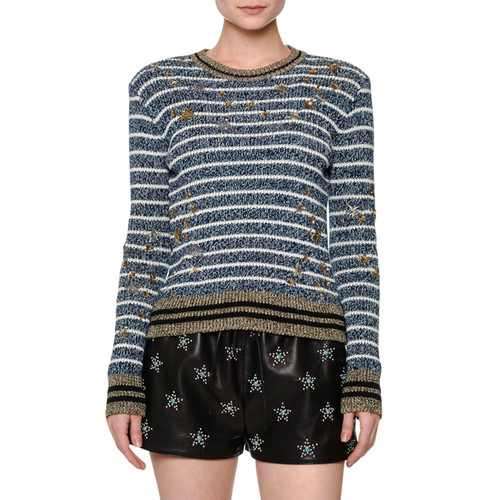 VALENTINO Striped Star-Embellished Sweater, Blue/White/G