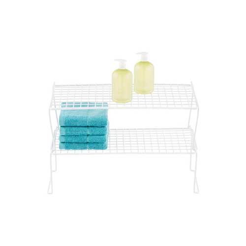 White Long Grid Stackable Shelf