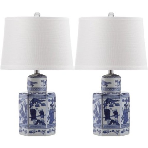 Safavieh Judy Table Lamp with CFL Bulb, Antique White with Off-White Shade, Set of 2