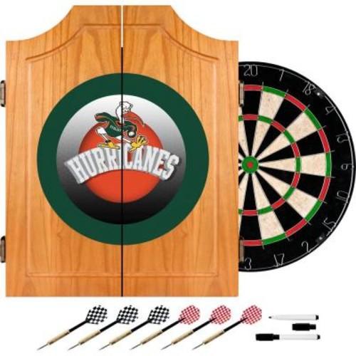 Trademark University of Miami Honeycomb 20.5 in. Wood Dart Cabinet Set