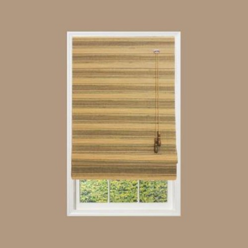 Home Decorators Collection Natural Moss Multi-Weave Bamboo Roman Shade - 39 in. W x 72 in. L