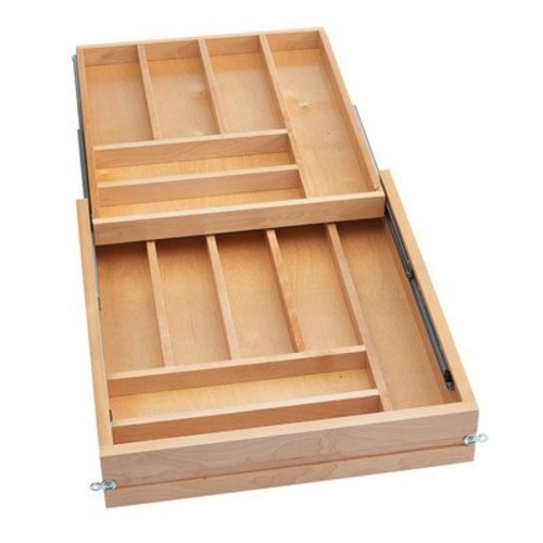 Rev-A-Shelf Frameless Tiered Cutlery Drawer System Organizers, Natural