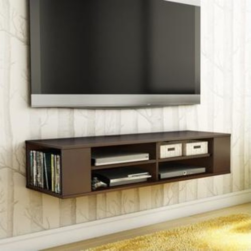 South Shore City Life Wall Mounted Media Console in Chocolate
