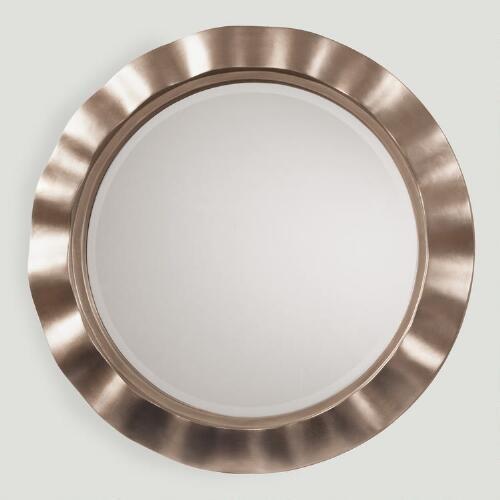 Silver Metal Wavy Round Mirror