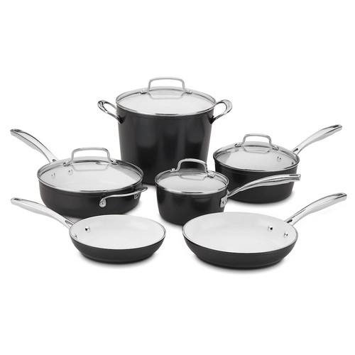 Cuisinart Elements 10-Piece Black Cookware Set with Lids