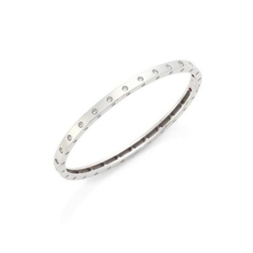 Pois Moi 18K White Gold Oval Bangle Bracelet