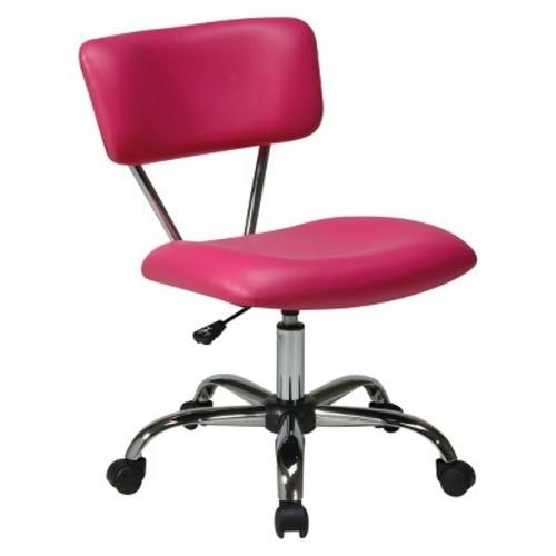 Vista Chrome and Vinyl Desk Chair Pink - Office Star