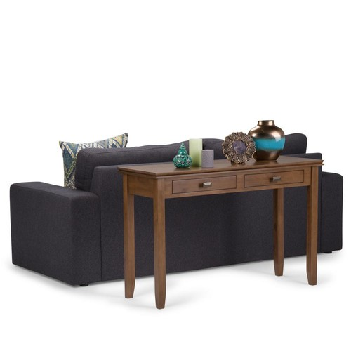 Simpli Home Artisan Medium Saddle Brown Storage Console Table