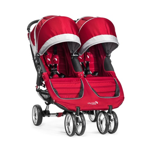 Baby Jogger City Mini Double Stroller - Crimson/Gray