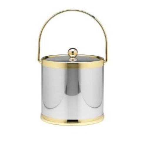 Kraftware Americano 3 Qt. Polished Chrome & Brass Ice Bucket with Brass Lid, Metal Bale Handle