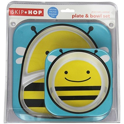 Skip Hop Baby Zoo Little Kid and Toddler Feeding Melamine Divided Plate and Bowl Mealtime Set, Multi Brooklyn Bee [Bee, Melamine Plate and Bowl Set]