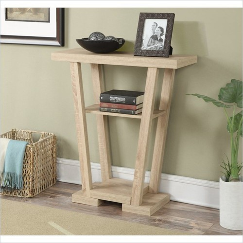 Convenience Concepts - Convenience Concepts Newport V Console - Weathered White - Black