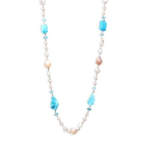 Stephen Dweck - 7-11MM White Round and Baroque Pearl, Turquoise and Sterling Silver Single Strand Necklace