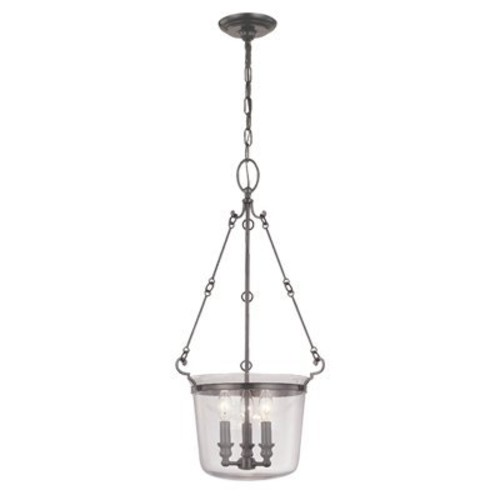Quinton 3-Light Pendant - Polished Nickel Finish with Clear Glass Shade [Polished Nickel Finish/131-pn, 28 in. H]