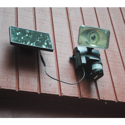 Maxsa 44642-CAM-BL Motion-Activated Solar Security Camera and Floodlight