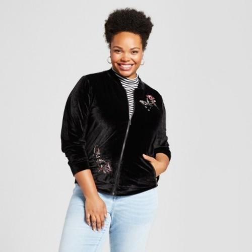 Women's Plus Size Embroidered Velvet Bomber Jacket - U-Knit - Black