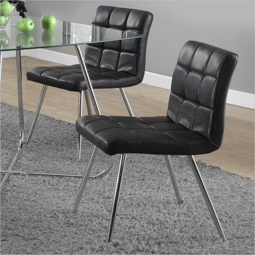 Monarch - Monarch Dining Chair in Black and Chrome (Set of 2) - Black