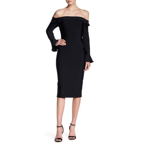 Off-the-Shoulder Ruffle Bodycon Dress