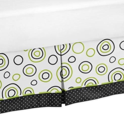 Sweet Jojo Designs Spirodot Queen Bed Skirt in Lime/Black