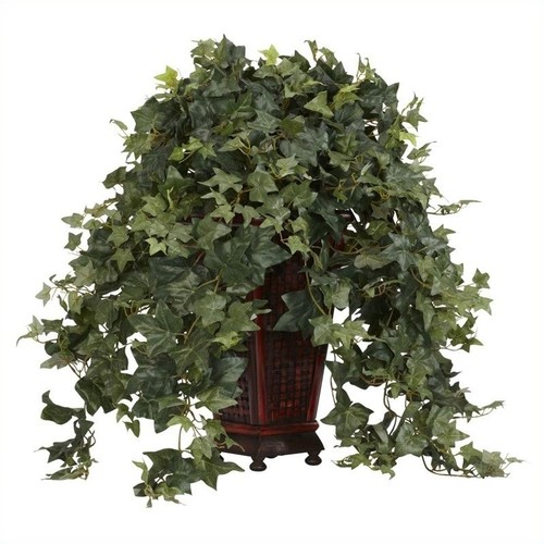 Nearly Natural Vining Puff Ivy with Decorative Vase Silk Plant in Green