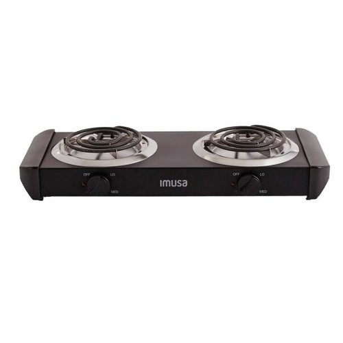 IMUSA USA GAU-80306 Electric Double Burner 1500-Watts , Black [Black, 1500W Electric Double Burner]