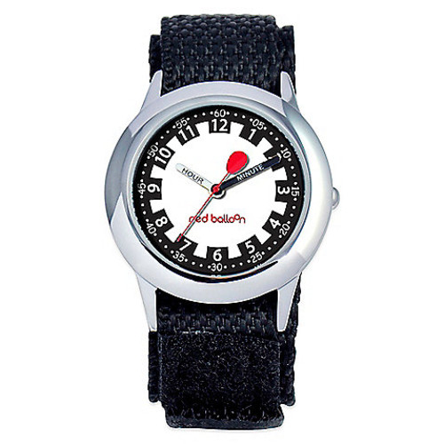 Red Balloon Children's 30mm Time Teacher Watch in Stainless Steel with Black Nylon Strap