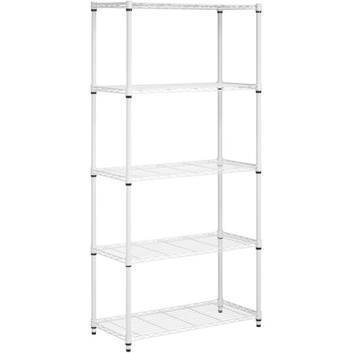 Honey-Can-Do SHF-01573 Adjustable Industrial Storage Shelving Unit, 200-Pounds Per Shelf, White 5-Tier, 36Lx14Wx72H [White]