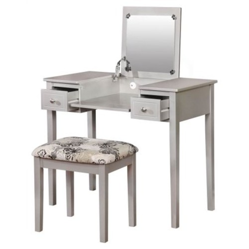 Linon Butterfly Vanity Set with Flip Top Mirror and Stool, Silver