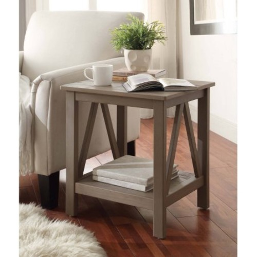 Linon Titian End Table with Bottom Shelf, Rustic Gray, 22 inches Tall