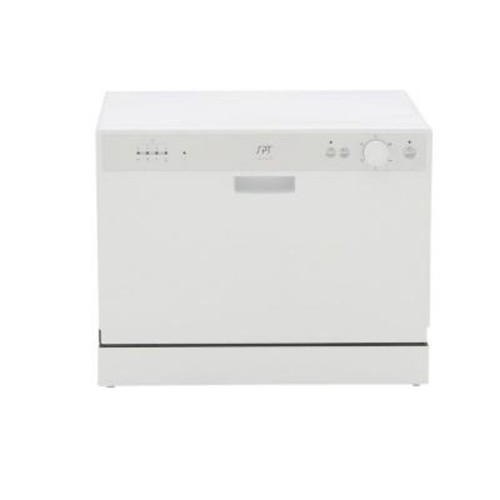 SPT Countertop Dishwasher in White with 6 Wash Cycles and Delay Start