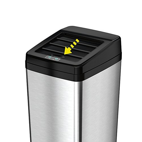 ITOUCHLESS Sliding Lid Automatic Touchless Sensor Trash Can  14 Gallon / 52 Liter  Stainless Steel  Kitchen Trash Can