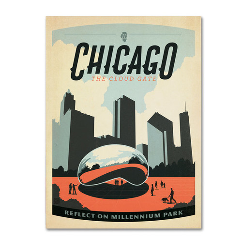 Anderson Design Group 'Chicago Cloud Gate' Canvas Art [option : 14x19 Wrapped Canvas Art]