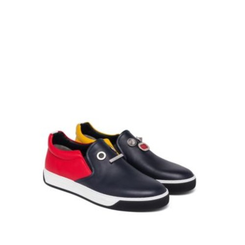 FENDI Faces Calf Leather Slip-On Sneakers
