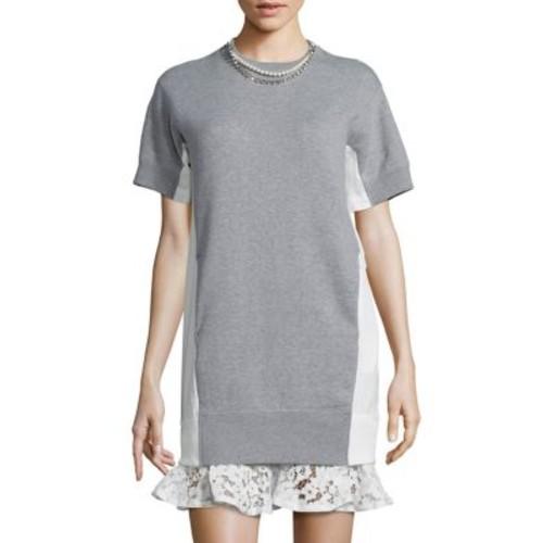 SACAI Pearl & Lace Sweatshirt Dress