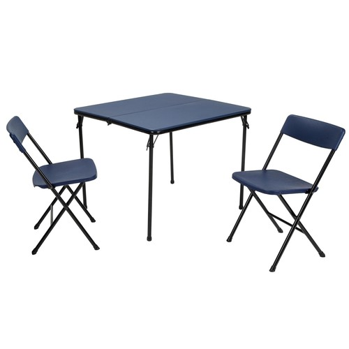 Cosco Home and Office Products 3 Piece Dark Blue Center Fold Table and 2 Chairs Tailgate Set