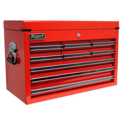 Homak Professional 27 in. 9-Drawer Top Chest, Red