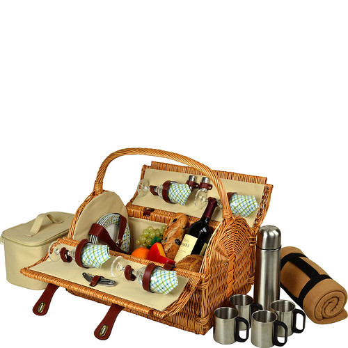 Picnic at Ascot Yorkshire Willow Picnic Basket with Service for 4, Coffee Set and Blanket - Gazebo [Wicker with Gazebo Plates/Napkins]