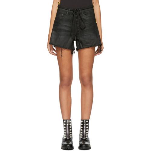 Black Denim Strap Shorts