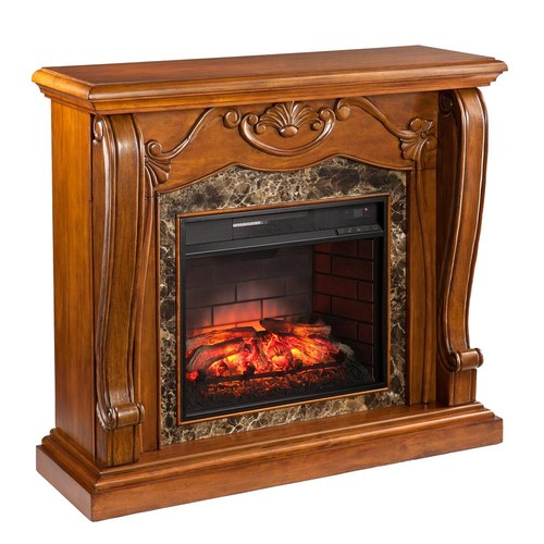 Southern Enterprises Montgomery 45.25 in. W Infrared Electric Fireplace in Walnut