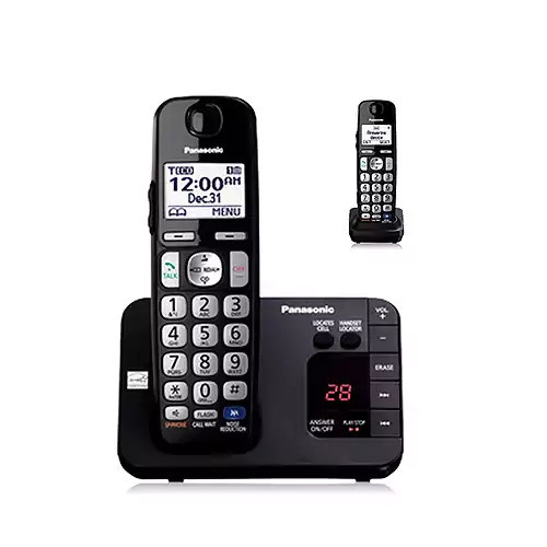 Panasonic KX-TGE232B DECT 6.0 Expandable Digital Cordless Answering System, 2 Handsets, Black