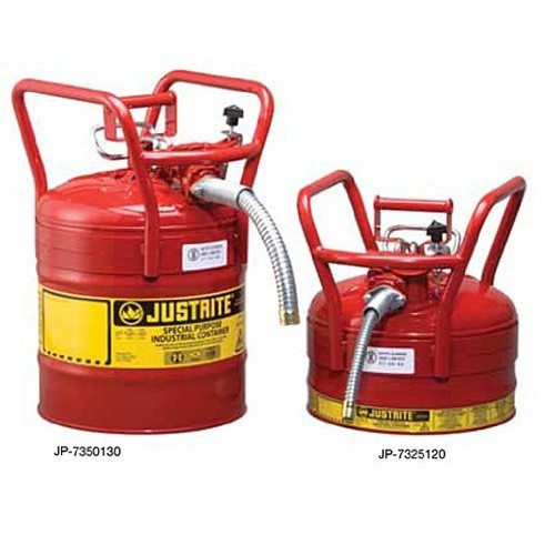 Justrite AccuFlow 7350130 Type II Galvanized Steel Transport and Dispensing Flammable Safety Can with 1