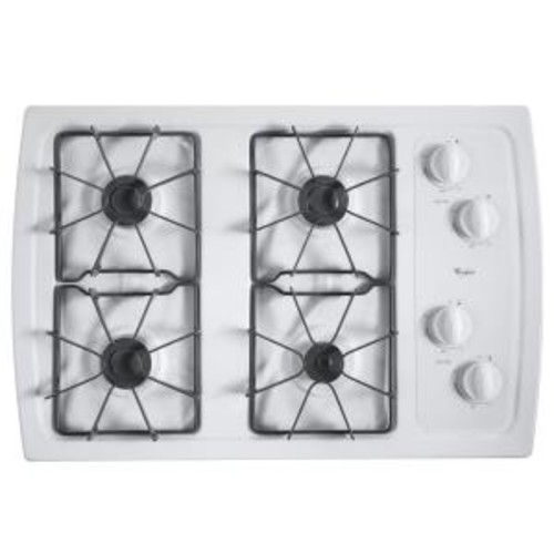 Whirlpool 30 in. Gas Cooktop in White with 4 Burners