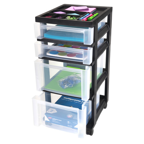 Iris 4-Drawer Storage Cart with Organizer Top
