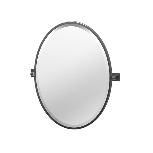 Gatco Elevate 27.5 in. x 23.75 in. Framed Oval Mirror in Matte Black