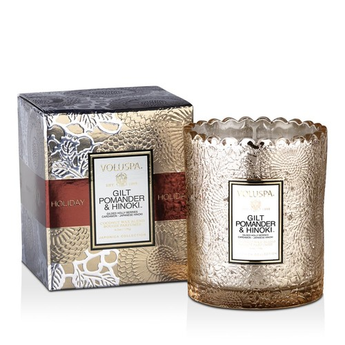 Gilt Pomander & Hinoki Holiday Boxed Scalloped Candlepot